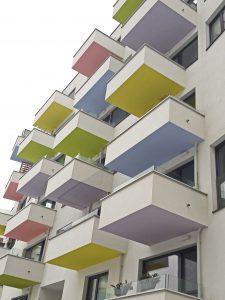 Seestadt Vienna colorful balconies